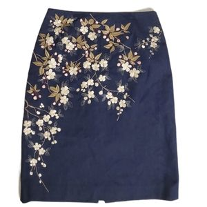 Lillie Rubin Navy Floral Print Embroidered Skirt 2